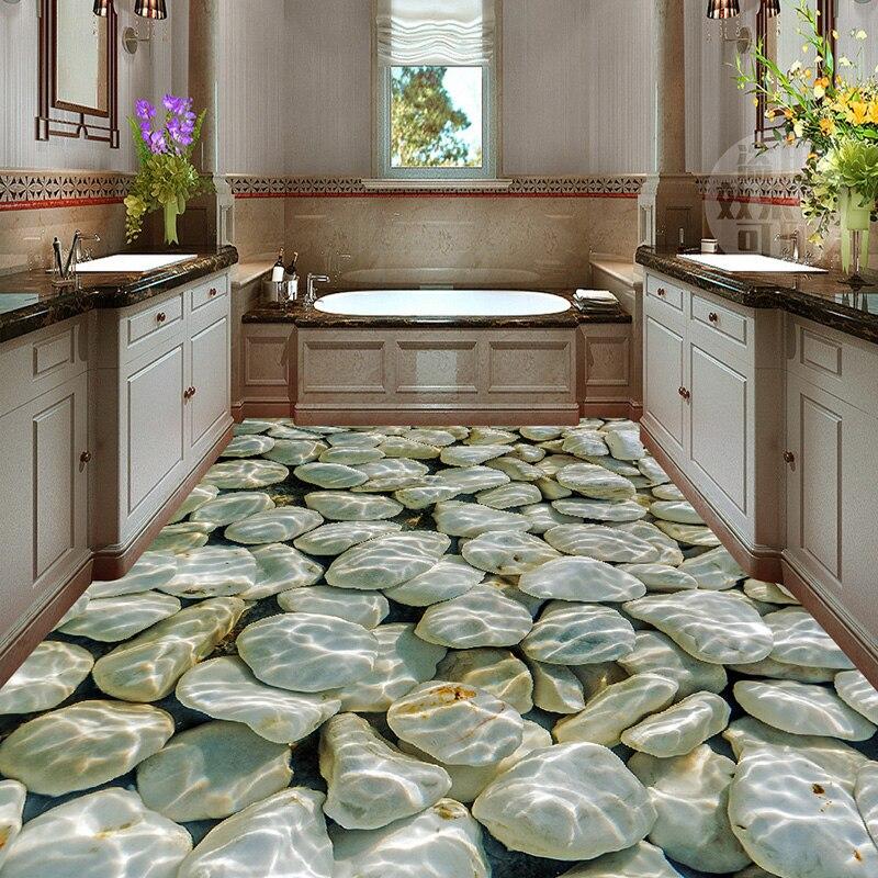 מדבקת רצפה תלת מימדית מקלחת אמבטיה חלוקי נהר