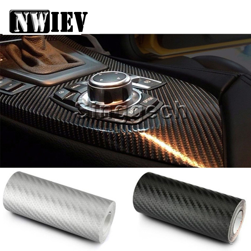NWIEV 30X127cm Car-styling Carbon Fiber car sticker For BMW Mini Cooper S VW Polo Passat B6 B7 B8 Golf 4 <font><b>5</b></font> 6 Touareg Bora Tiguan image