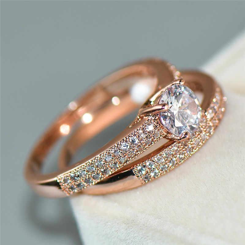 Luxo Feminino Cristal Rodada Conjunto Anel de Casamento Moda Nupcial Ouro Amarelo Anel de Noivado Promessa Zircon Pedra Anéis Para As Mulheres