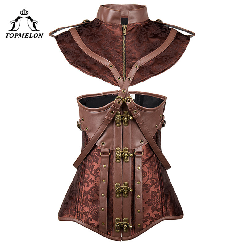 TOPMELON Sexy   Corset   Dress Steampunk   Bustier   Gothic   Corset   Women Corselet Retro Newest Cut Out Crop Bandages Tops Dress 6XL