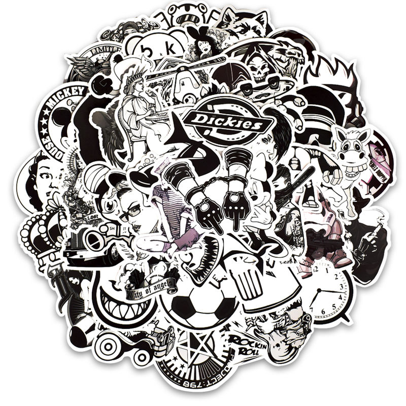 Image 2 - 50PCS Black and White Punk Laptop Stickers Graffiti Vinyl Computer Sticker for MacBook Skateboard Suitcase Bike Helmet-in Laptop Skins from Computer & Office