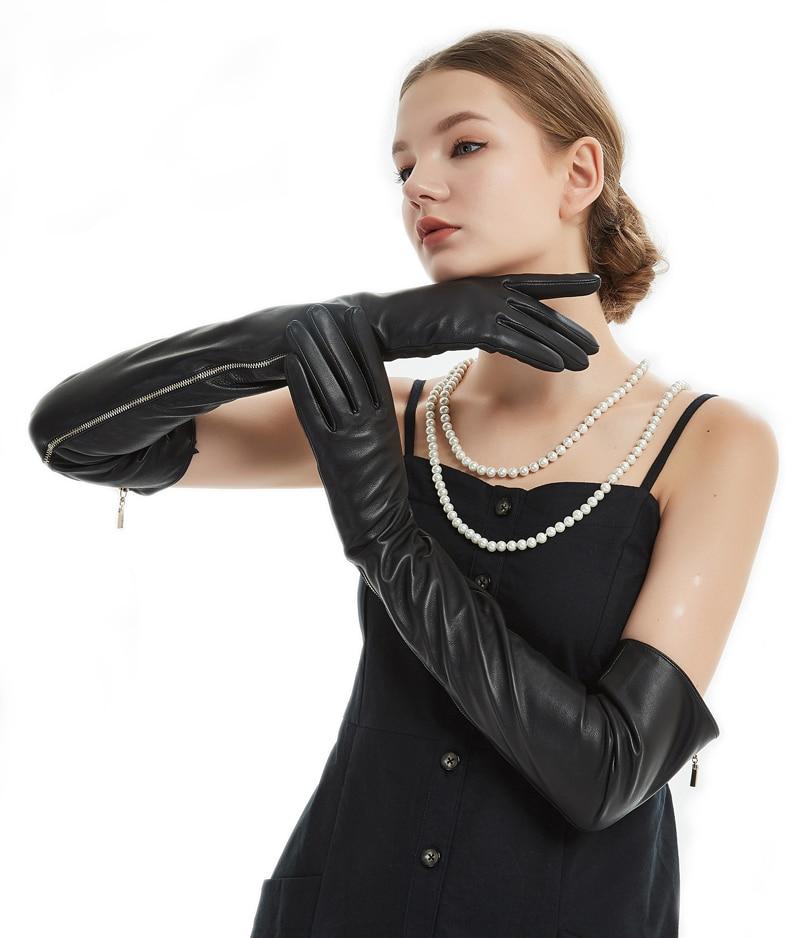 60 см (23,6 ) длинные открытые длинные кожаные длинные оперные перчатки черного цвета на молнии - 2