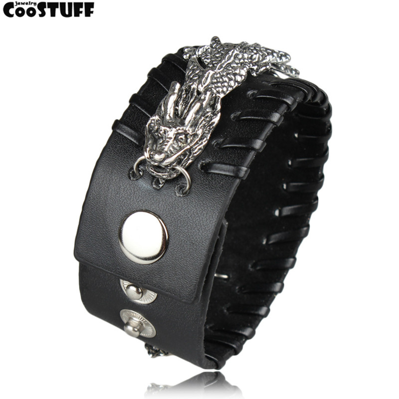 Black men bracelets for women pulseira masculina bracelet men jewelry pulseira feminina Rock Dragon Genuine leather bracelet