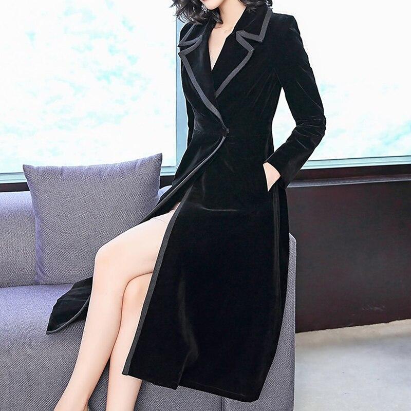 Spring Fall Fashion Office Ladies Woman Slim Long Sleeve Patchwork Elegant Velour Trench Coat , Women Formal Black Velvet Coats