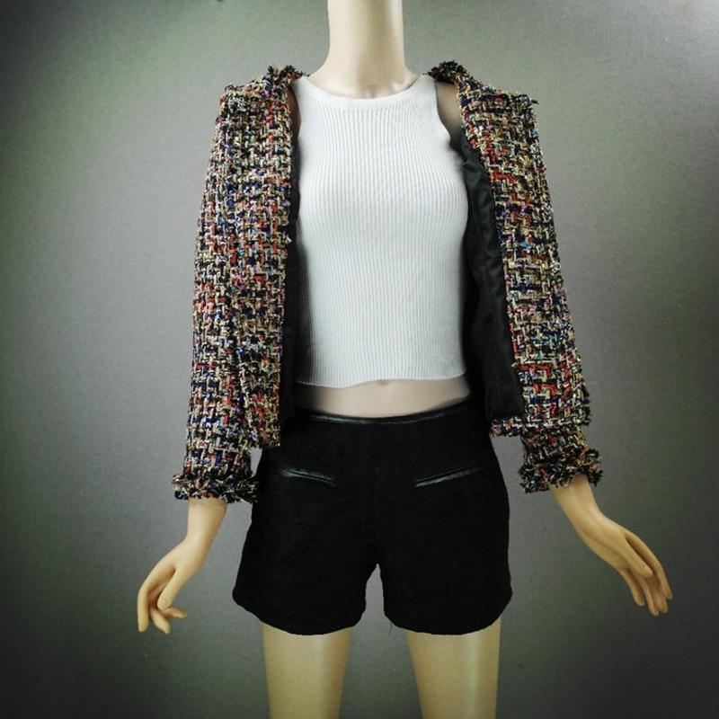 Top Brand 2019 Nieuwe Mode Vrouwen Tweed Korte Jas Slim Fit Twill Getrimd Vrouwelijke Uitloper Jas Formele Partij Elegante Dame jassen - 3