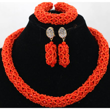 Charming Orange Red 1 Layer African Beads Seed Nigerian Party Jewelry Set Choker Necklace Bracelet Earrings Set Free Ship QW289