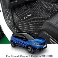 PU Car Floor Mat For For Renault Captur B Platform 13 18 Kadjar 15 18 Koleos II 17 19 5Seats LHD Car Foot Pad Auto Carpet Cover