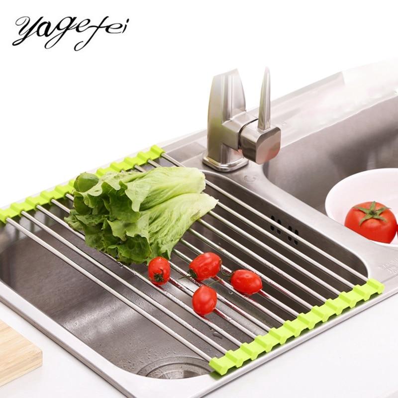 Fruit Vegetable Drainer Colanders Sink Dish Drainer Kitchen Drain Rack Stainless Steel Dish Drying Rack Holder Kitchen Tools