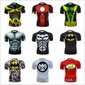 Высочайшее Качество Сжатия Мужчин Футболки Супермен/Бэтмен/Человек-Паук/Капитан Америка Футболки Мужчины Фитнес Рубашки Моды для Мужчин футболки