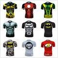 Calidad superior de Compresión Hombres Camisetas Superman/Batman/Hombre Araña/Capitán América Camiseta de Los Hombres Camisas de Fitness Hombres de La Moda camisetas