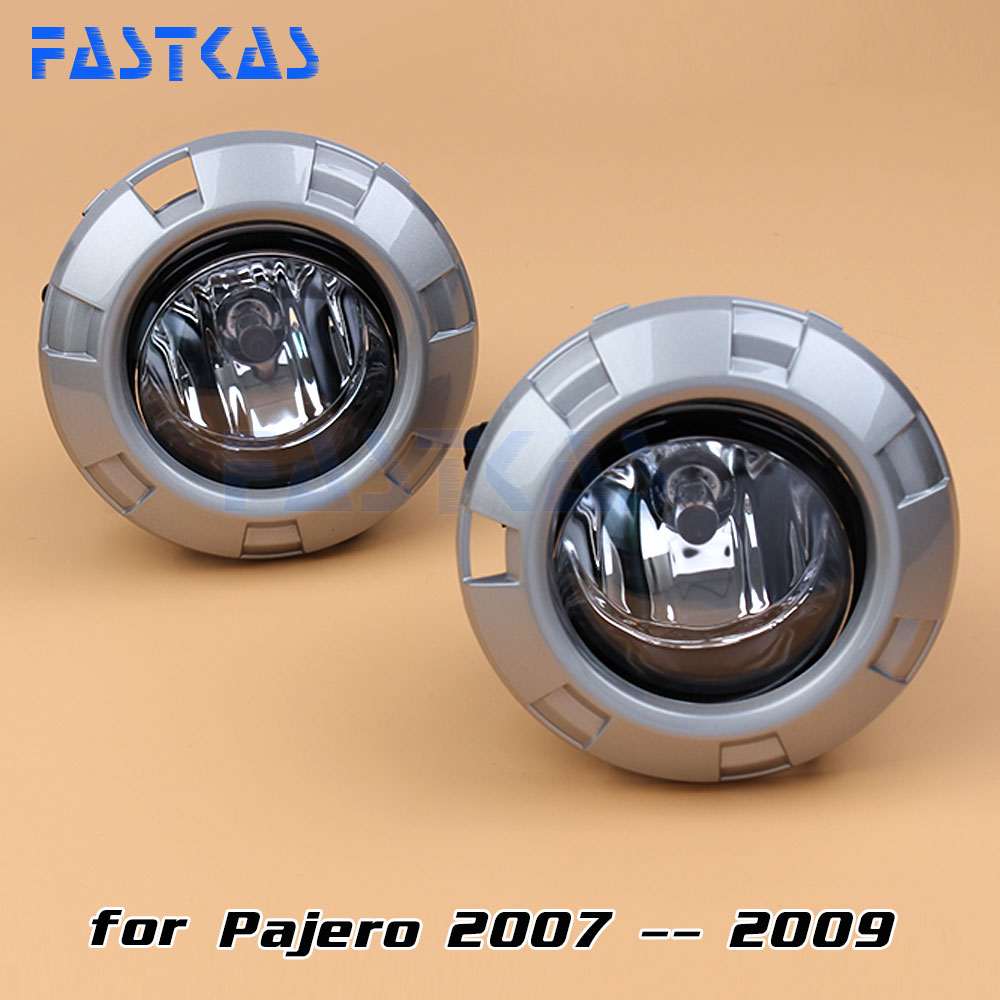 Car Fog Light Assembly for Mitsubishi Pajero 2007 2008 2009 Left & Right Fog Lamp with Switch Harness Covers Fog Lamp Kit car fog lights lamp for mitsubishi triton 2 door 2009 on clear lens pair set wiring kit fog light set free shipping