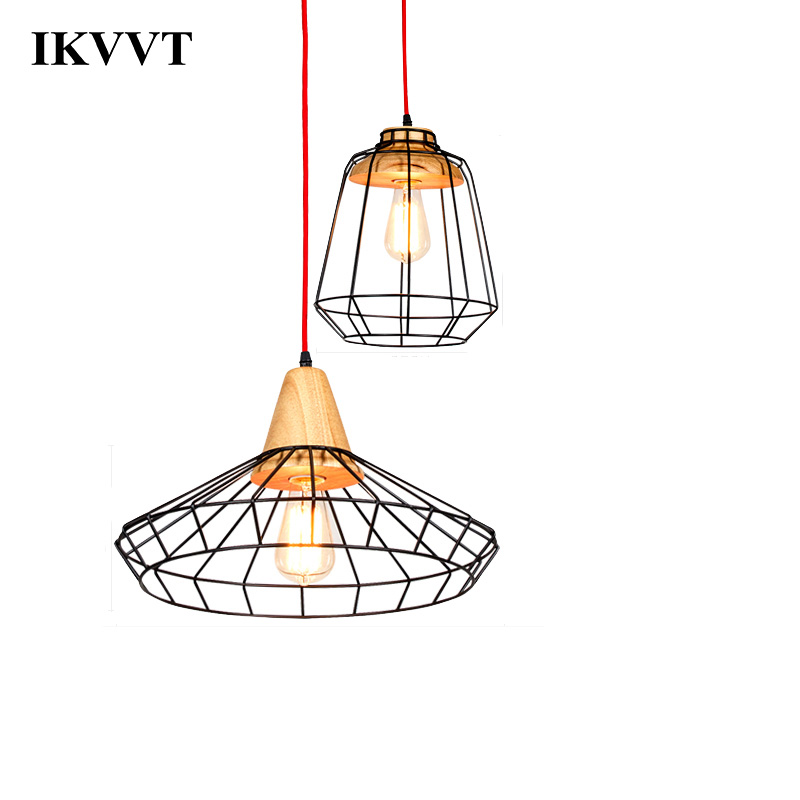 IKVVT Iron Cage Hanging Pendant Lights E27 Modern Hanging Lamp For Restaurant Bedroom Living Room Light Fixtures Indoor Lighting e27 pendant light hanging lamp iron bird cage modern light for home garden coffee room decoration