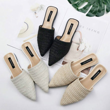 New 2019 Spring Summer Women Slippers Weave Flat Shoes Woman Mules Shoes Pointed Toe Half Slippers Outside Slides YASILAIYA цена 2017