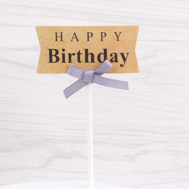 1pc Happy Birthday Cake Topper With Pink Ribbon Cupcake Insert Cards