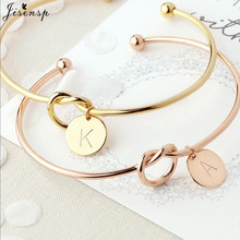 Jisensp Personalized Knot Letter Initial Bracelets Bangles A-Z Letters