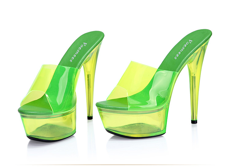 3ebe47f2805 Shoes Platform Sandals Catwalk Shows Summer 2018 Steel Pipe Dance Shoes  Sexy Ultra High Heels 15 cm Transparent Sandals Slippers-in High Heels from  Shoes on ...