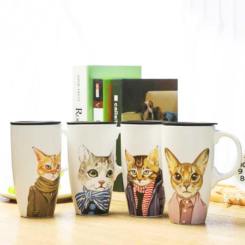 1 шт. 500 мл Милая кошка керамическая кофейная кружка с крышкой большой емкости кружки с животными креативные чашки для кофе Новинка подарки посуда для напитков
