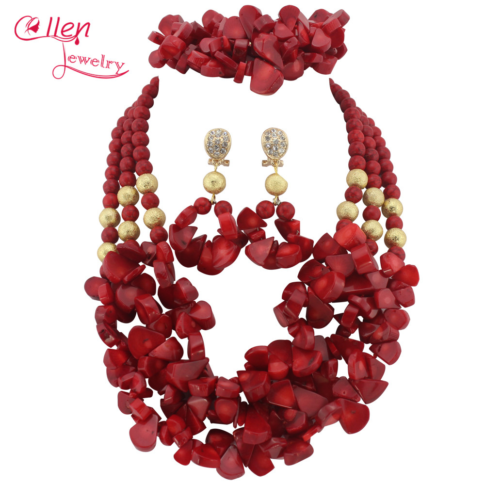 Red African Nigerian Wedding Beads Jewelry Set Coral Jewelry Set Coral Beads Necklace Set African Jewelry Set   W7135Red African Nigerian Wedding Beads Jewelry Set Coral Jewelry Set Coral Beads Necklace Set African Jewelry Set   W7135