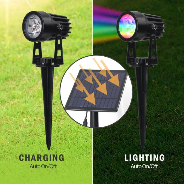 T-SUNRISE LED Solar Garden Light IP65 Waterproof RGB Solar Lamp Outdoors Solar Spotlight For Garden Decoration Wall Light 2