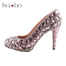 CHS946 Custom Handmade Rhinestone Light Pink Crystal Dress Pumps Bridal  Wedding Shoes Women Pumps High Heels 8497ae603846