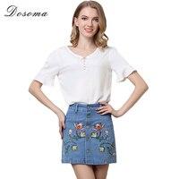 DOSOMA 3XL Plus Size Jeans Denim Skirt 2017 Fashion Vintage High Waist Embroidery Pocket Ladies Summer