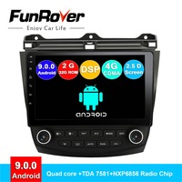 FUNROVER Quad core android 9.0 2 din car dvd player gps For Honda Accord 7 2003 2007 stereo radio multimedia navigation 2G 32G