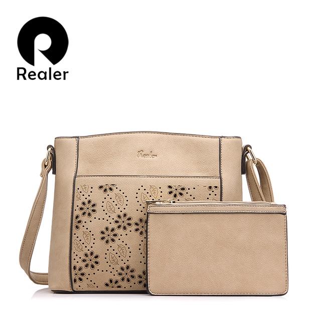REALER brand new women messenger bags vintage floral hollow out design handbag female small shoulder bag+coin purse