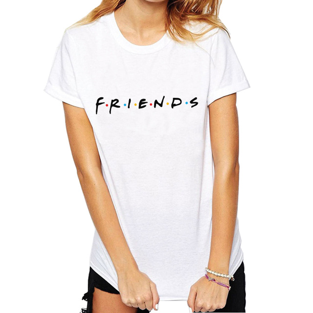 Womens Fashion Casual Tops Letter Printed T-shirt Funny Casual Pullovers Plus Size Best Friends Tv T Shirt Show Tee Shirt Femme