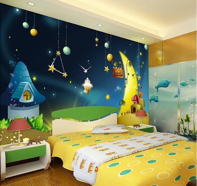 Custom Papel De Parede Infantil Cartoon Stars Mural Painting In The