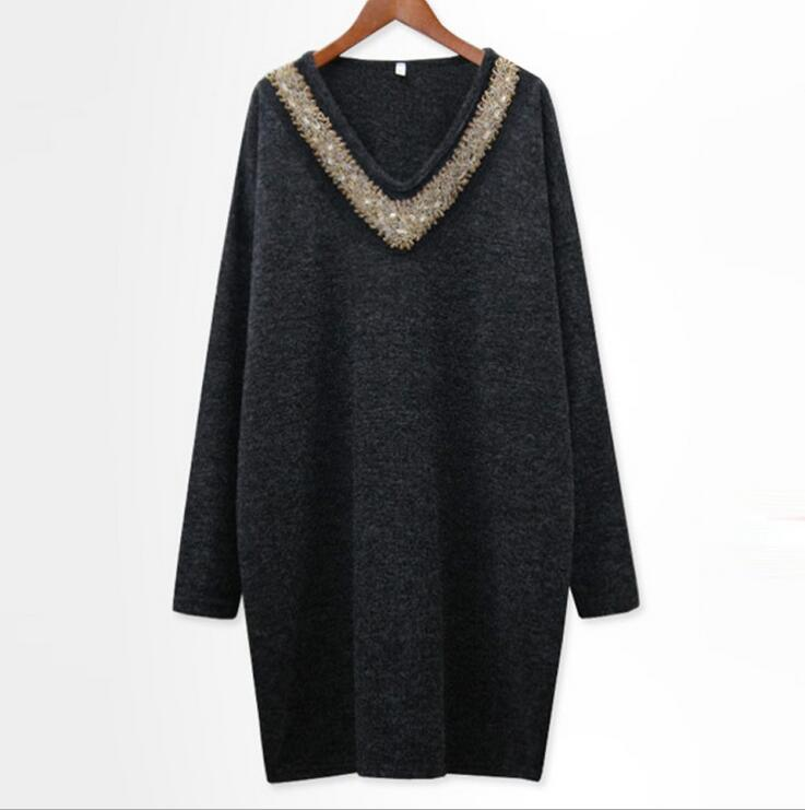 Autumn and winter ladies womens clothing plus-size long sleeve loose fashion beading patchwork Big yards sweater dresses Y065