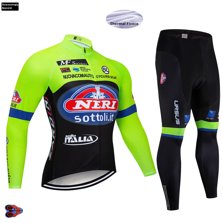 Spor ve Eğlence'ten Bisiklet Takımları'de Pro erkek Kış İTALYA Takım Bisiklet giyim setleri Bisiklet Jersey 9D Yastıklı Bisiklet Uzun MTB Yol Bisikleti Bisiklet Setleri XS 5XL büyük title=