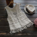 New 2017 Spring Summer Women's Casual Self Cultivation Vest Solid Hollow Out Flower Female Vest Cardigan Vestido U563
