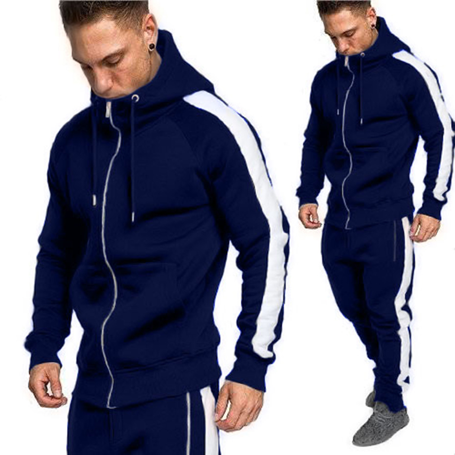 2019 New Men Tracksuit Autumn Active Suit Set Outwear Hooded Hoodies and Long Pants Casual Cotton Zipper Fly