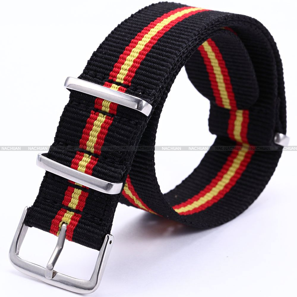 купить 20mm Width Yellow Red Black Stripe Nylon Canvas Fabric Steel Buckle Mens Military Sport Watch Band Wrist Strap Watchband /WB2018 по цене 286.9 рублей