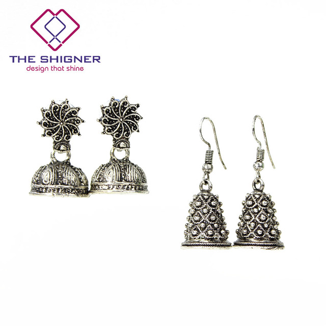193c1f902 THE SHIGNER Indian Tradition Oxidised German Silver Small Size Jhumka  Jhumki Earrings Dangle Earring Ethnic Jewelry for Women