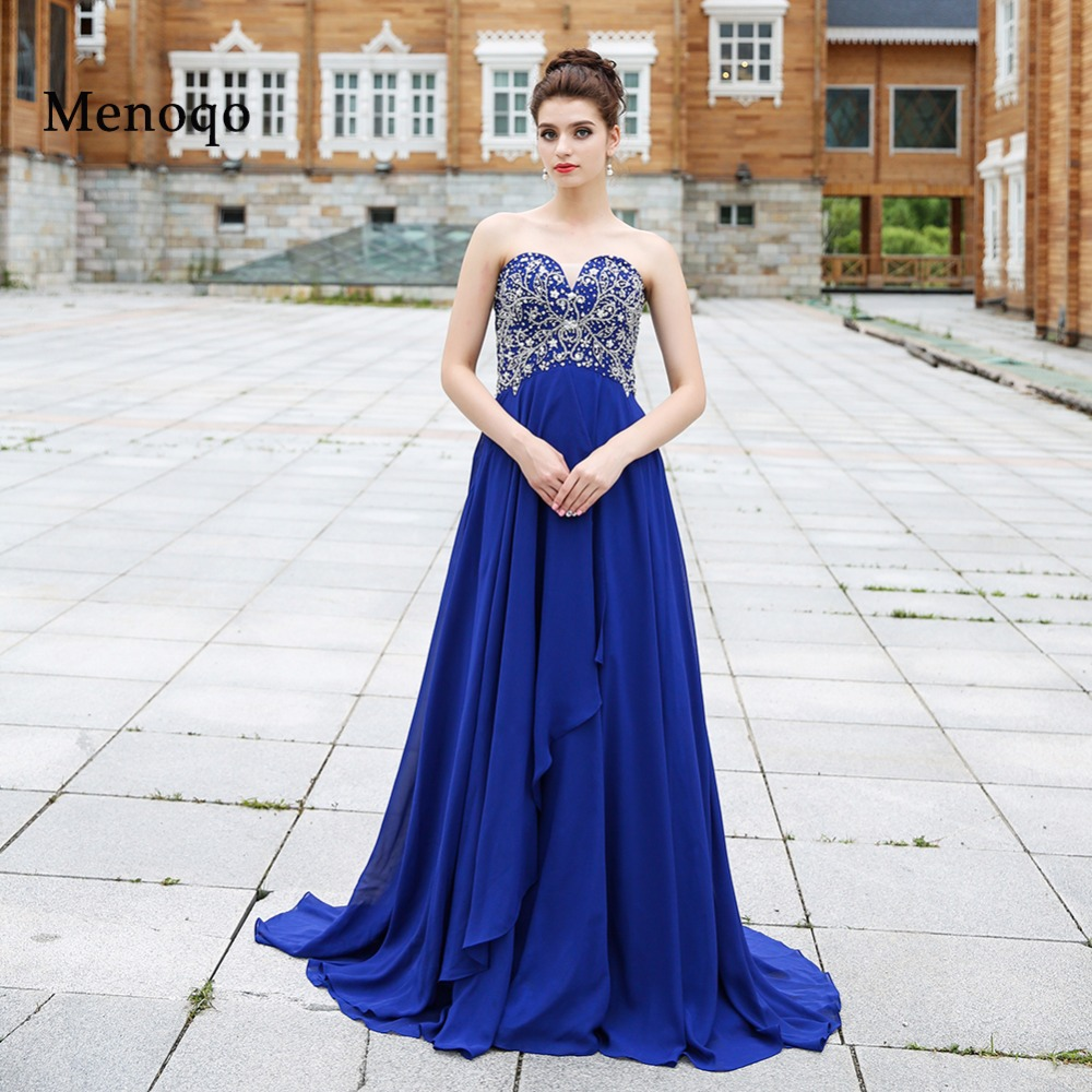 Vestido De Festa Formal Evening font b Dress b font Gowns 2018 Royal Blue Beaded Chiffon