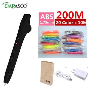 Новые BAPASCO 3D печать Ручка + 200 м ABS нити USB зарядка 3D рисунок пером для детей best подарки ЕС нам АС США печать Ручка 3D