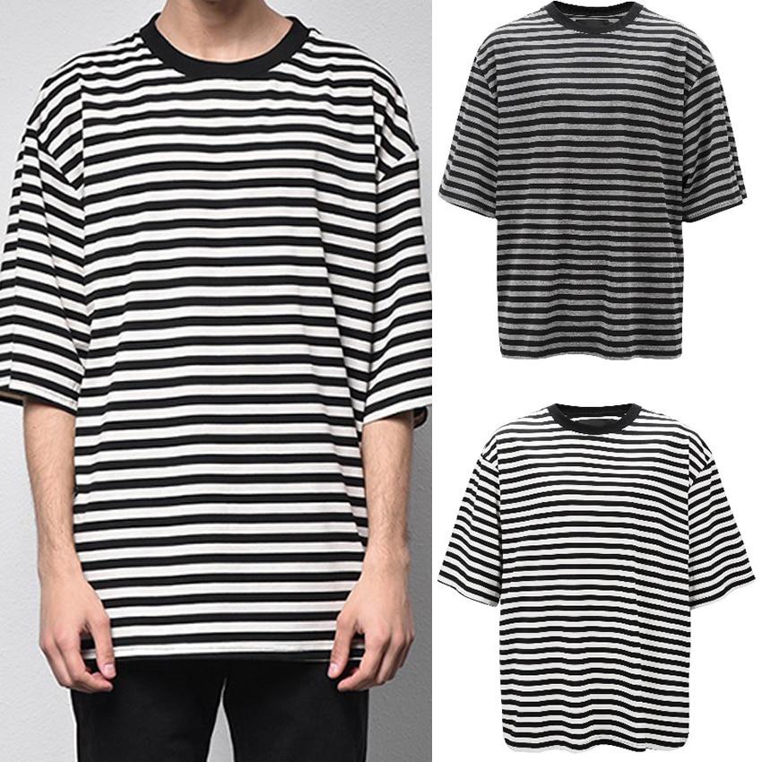 Men's Round Neck Stripe Loose Tshirt Hip Hop Short Sleeve T shirt For Men Leisure Hipster Streetwear Tee Shirt Men's Top Clothes