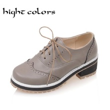 Big Size 10.5 Ladies Casual Comfortable Synthetic Lace Up Low Heel School Office Shoes Oxfords For Women Flat Zapatos Mujer