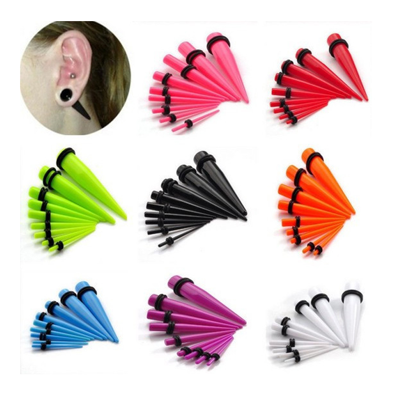 Ear Piercing Acrylic Ear Tapers Expander Stretching Ear Stretchers Plugs And Tunnel Ears Piercings 1.6--20mm Sex Body Jewelry