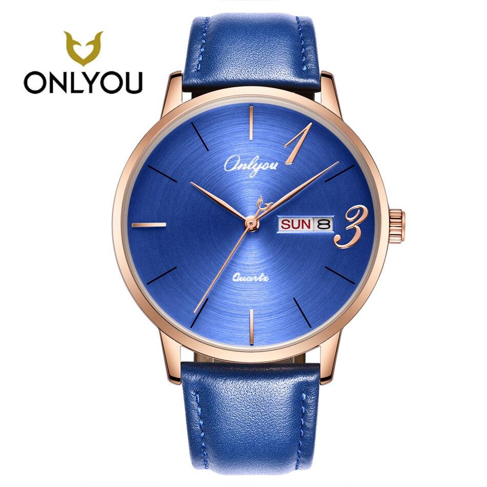 ONLYOU Man Watch Top Brand Luxury Leather Watchband Sports Watch Waterproof Women Watches Quartz Male Clock Fashion Lovers Gift
