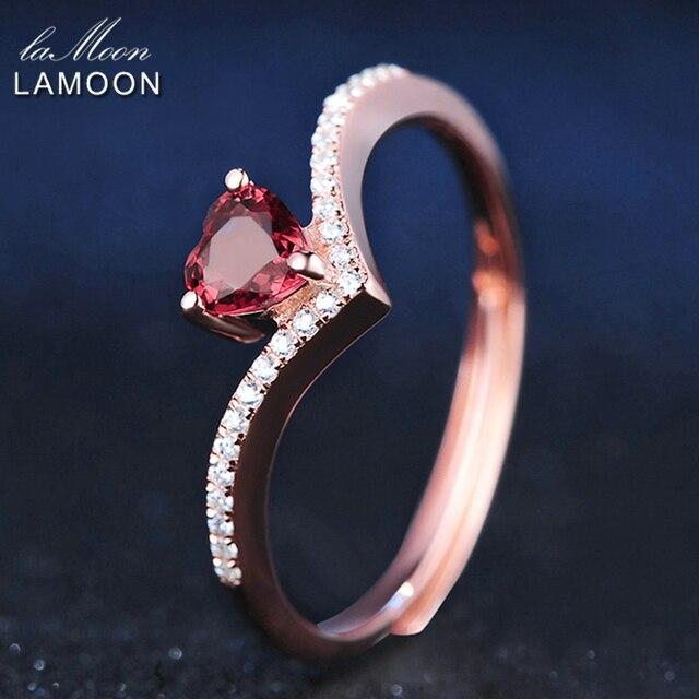 LAMOON Cuore Anelli Per Le Donne Amore Romantico 100% Naturale Rosso Granato 925 Sterling Silver Jewelry Wedding Bands Ring Anelli RI003