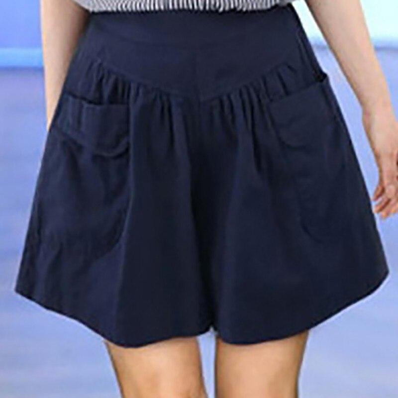 2018 Suvised lühikesed püksid naistele Pluss suurus 5XL lai jalg Naiste lühikesed püksid Vabaaja lahtised daamid Khaki Kõrge talje õhuke pantalones cortos