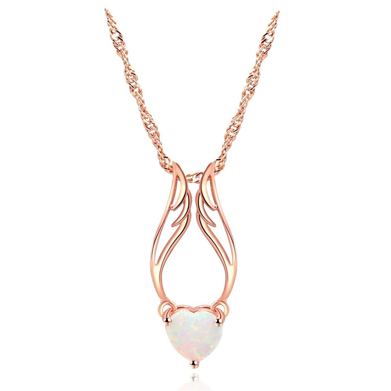 Zhe Fan Wanita Malaikat Sayap Liontin Kalung Hati Putih Api Opal Set Cincin Rodhium Rhodium Rose Warna Emas Disepuh Perhiasan Hadiah 3 Cara Memakai Di Dari
