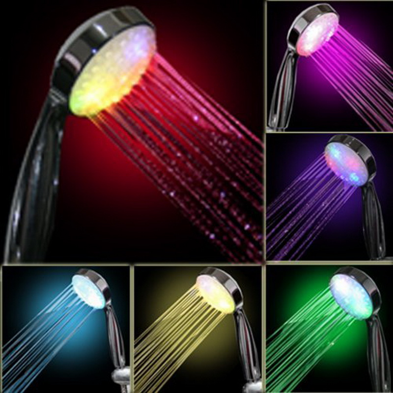7 Color Handheld Home Bath Rainbow Changing LED Shower Head Bathroom Showerheads Bathroom Products