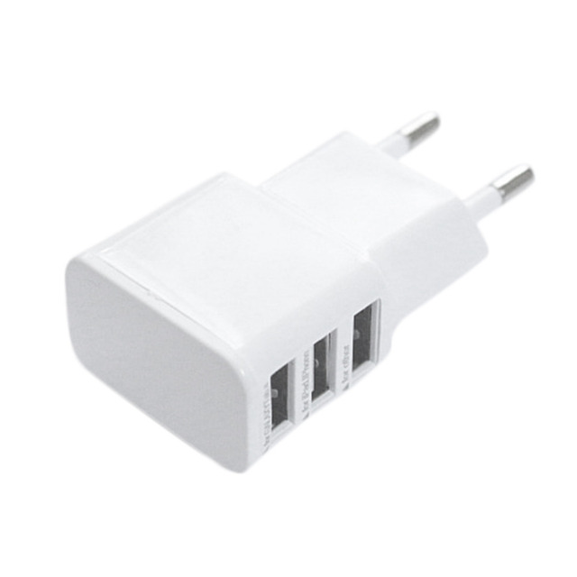 5V 2A EU Plug 3 Ports USB Wall Travel Charger Adapter for Iphone 6 6S for Samsung IOS Android Smartphone