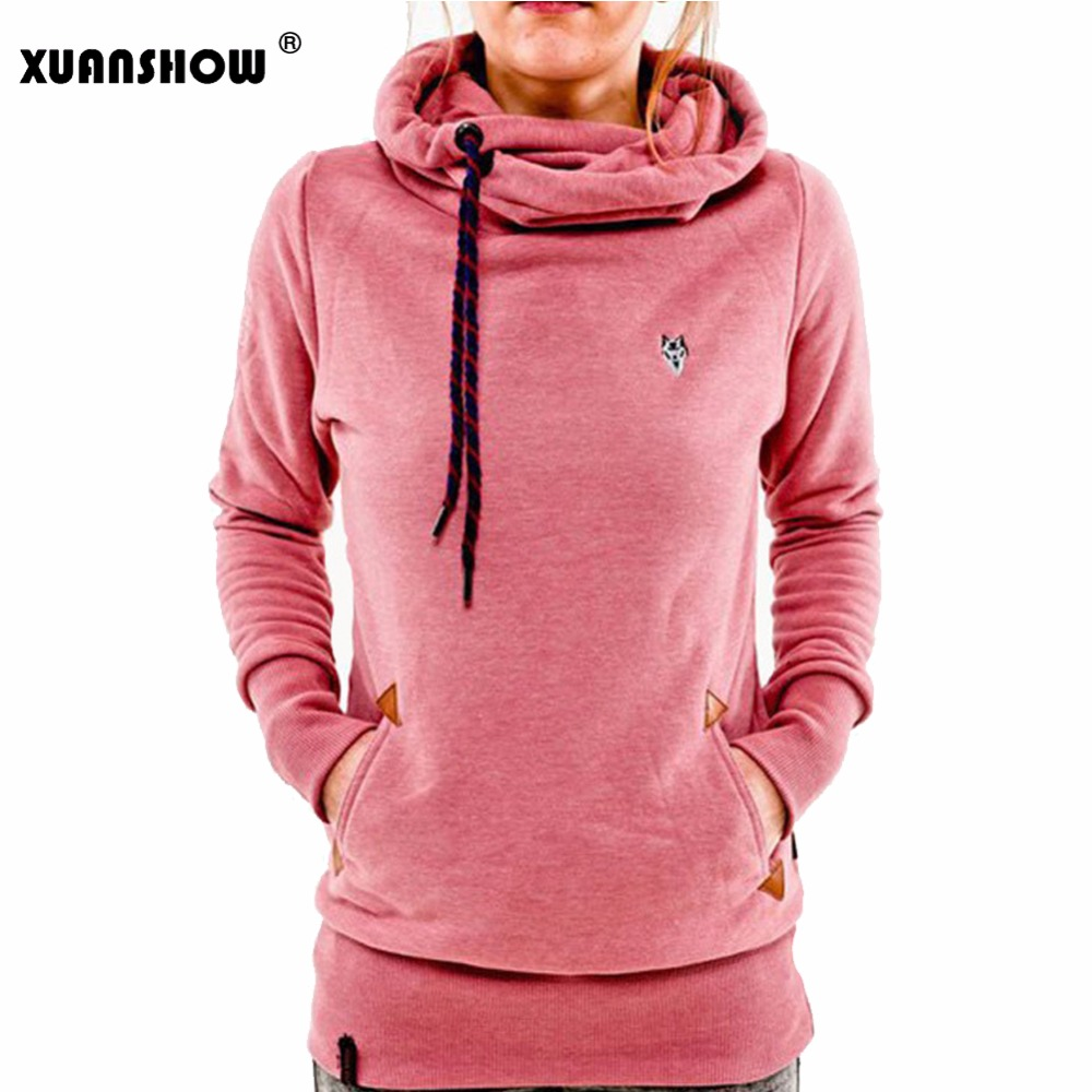 XUANSHOW Herbst Winter Frauen Mode Vliese Hoodies Stickerei Tasche Lady Sweatshirts Mit Kapuze Lässige Pullover Tops