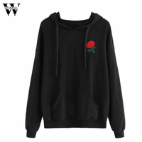 Womail Mujeres Rose Apliques Bordado Sudadera Con Capucha Sudadera Con Capucha Con Cordón de Mezcla De Algodón de Moda Tops Negro de la Camiseta #30