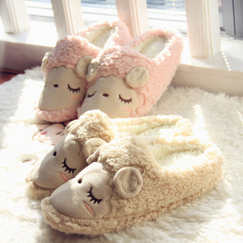 Cute Squinting Sheep Coral Cartoon Animal Animation Sewing Winter Pantuflas Pantofole Donna Pink Slippers Women Mujer Shoes Men cute squinting sheep coral cartoon animal animation sewing winter pantuflas pantofole donna pink slippers women mujer shoes men