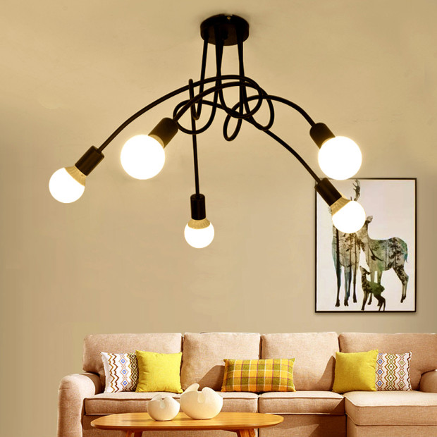 Loft Spider Ceiling Chandelier E27 Lamp Modern fixtures ding room bedroom Creative Home lighting Multiple Wrought